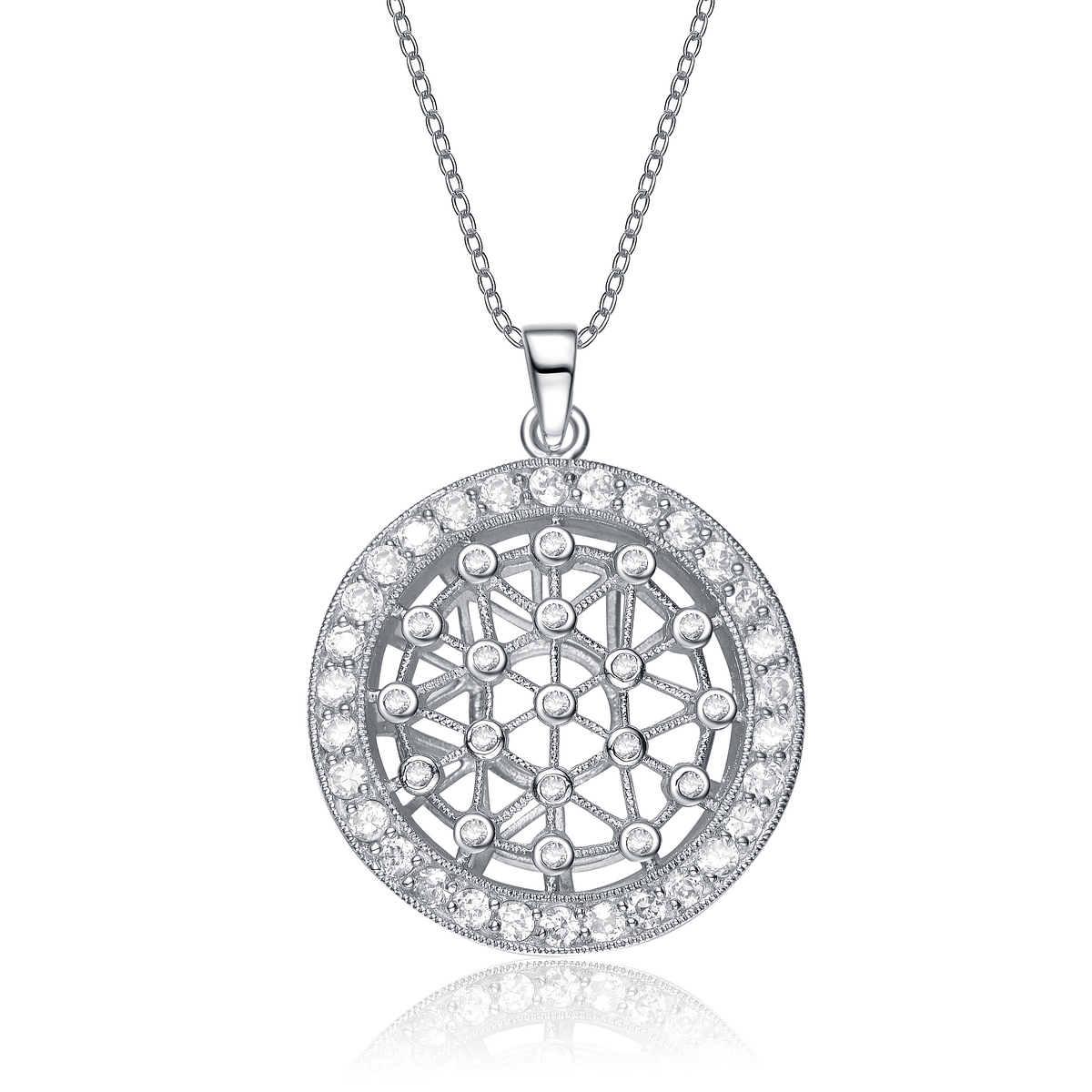 shape shimmering silver star sterling with set z pendant heavy pendent round border c product
